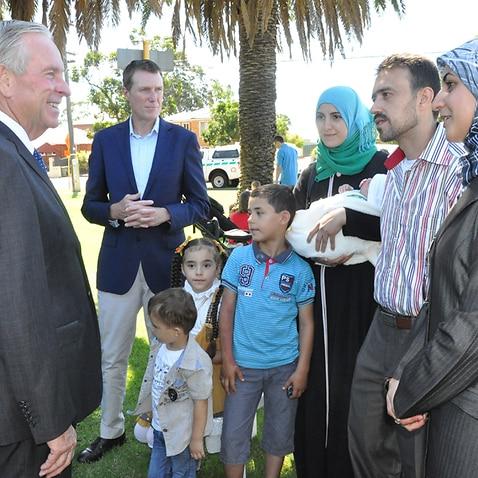 Syrian refugees meet Colin Barnett.