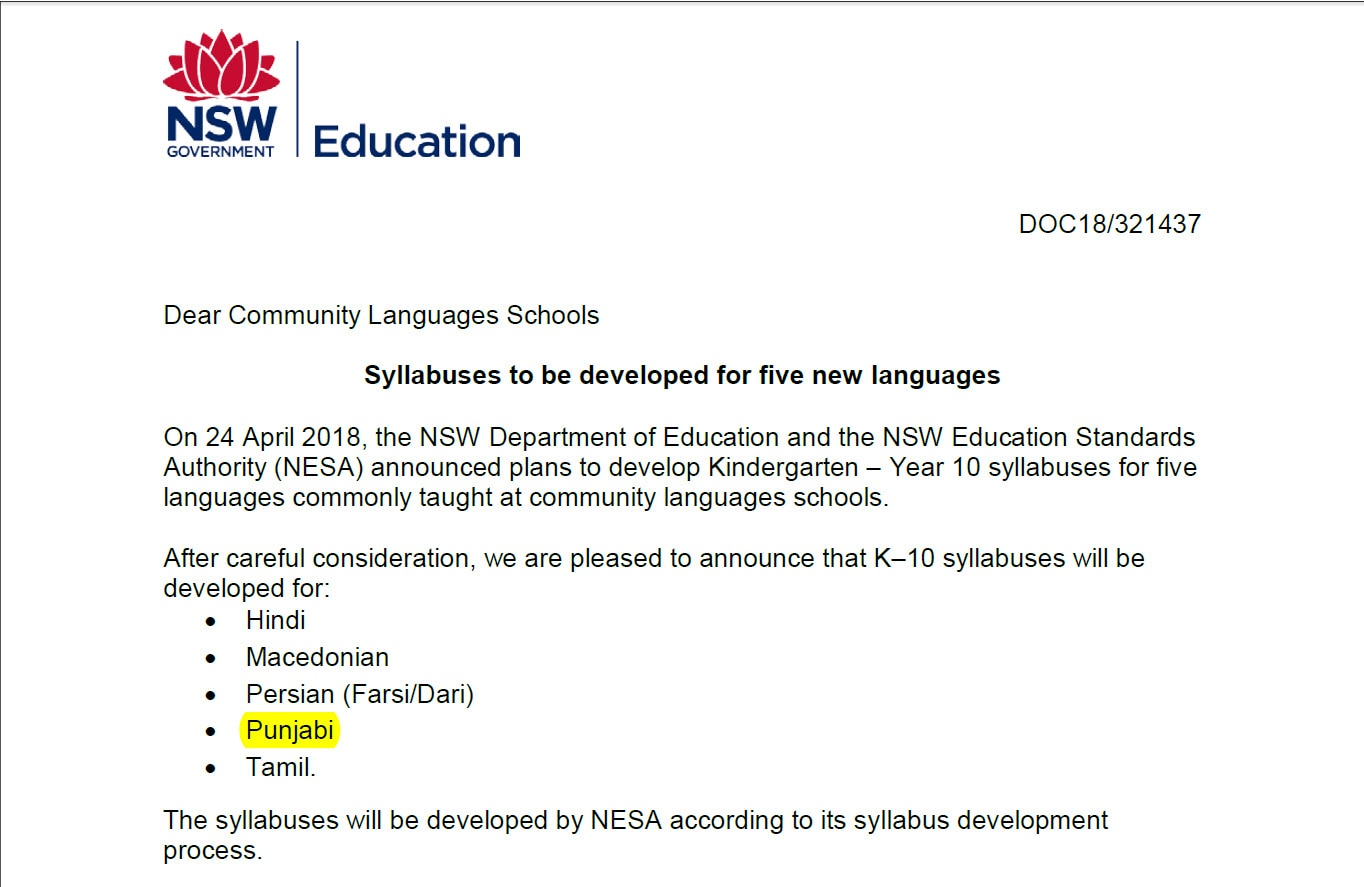 Syllabus would be developed to teach Punjabi in NSW public schools