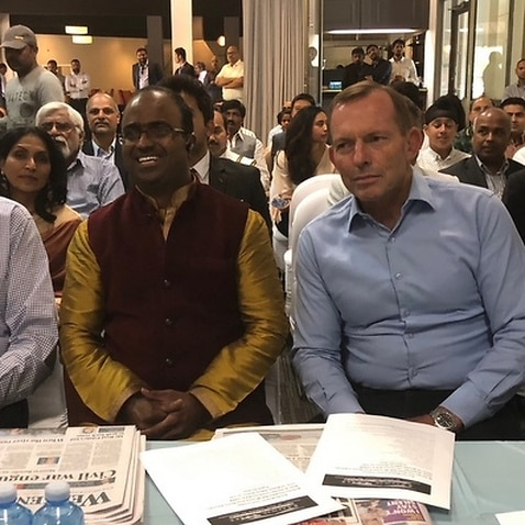 Former Prime Minister Tony Abbott at an Indian restaurant launch in Melbourne's south east on Saturday February 17
