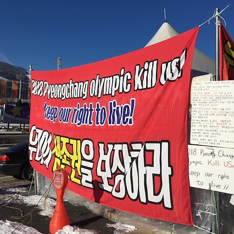 Local business owners in Bokwang are protesting the Winter Olympics.