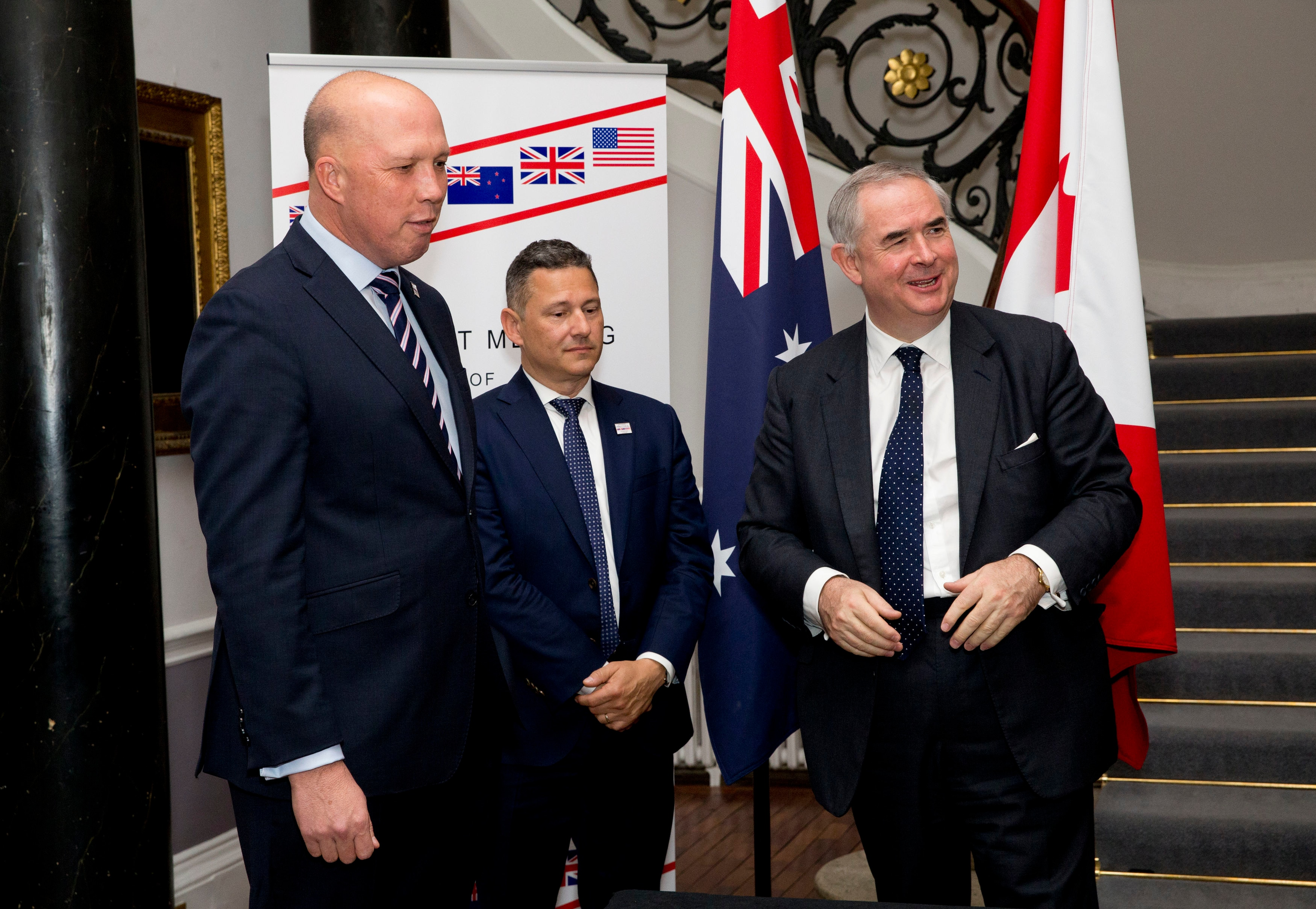 Mr Dutton, Canada's Justice Minister Francois Daigle and United Kingdom's Attorney General Geoffrey Cox.