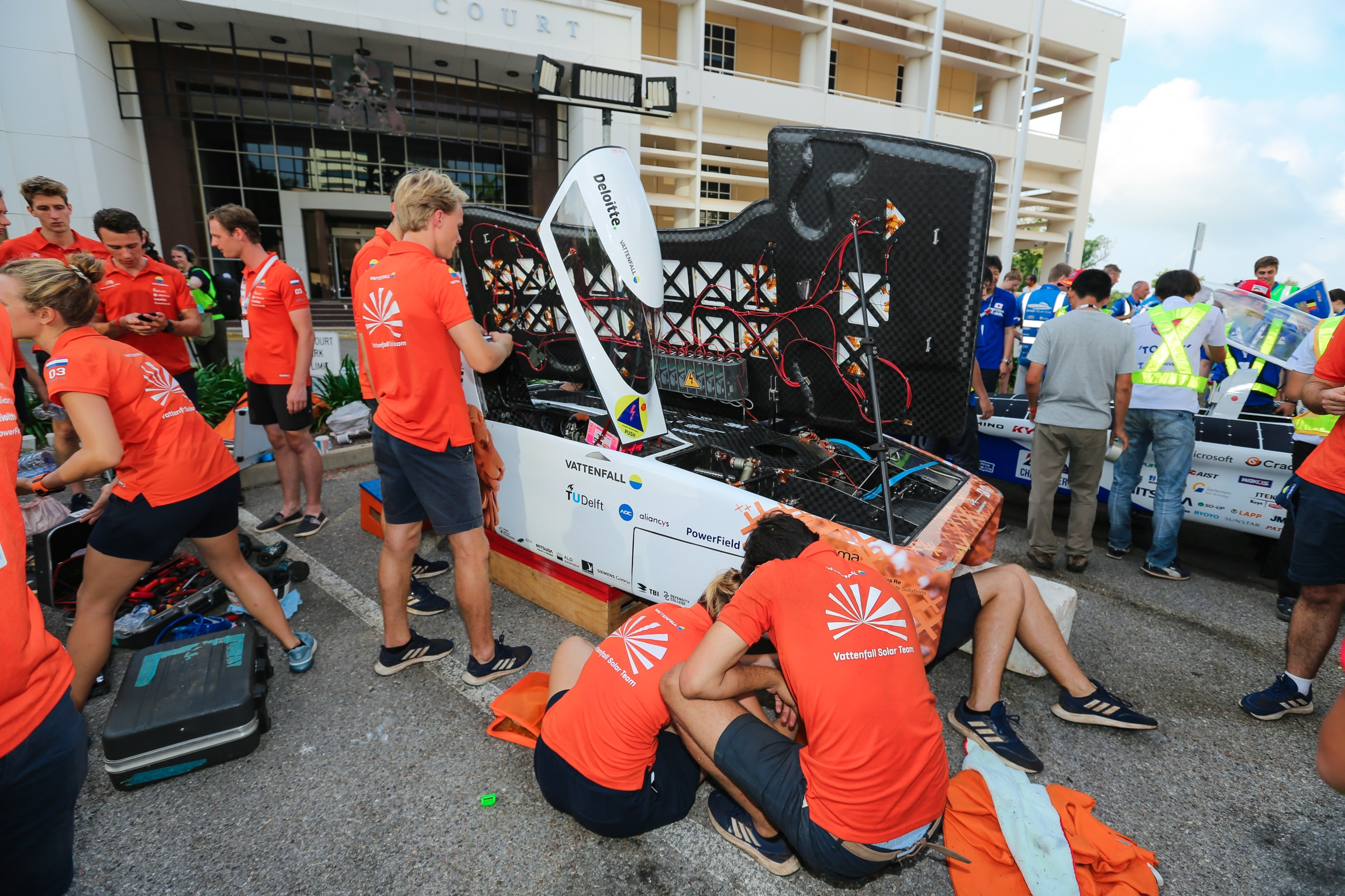 The Vattenfall Solar team is seen at the start line of the 2019 World Solar Challenge at State Square in Darwin.