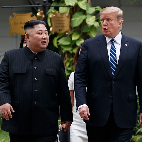 US President Donald Trump and North Korean leader Kim Jong-un after their meeting in Hanoi.
