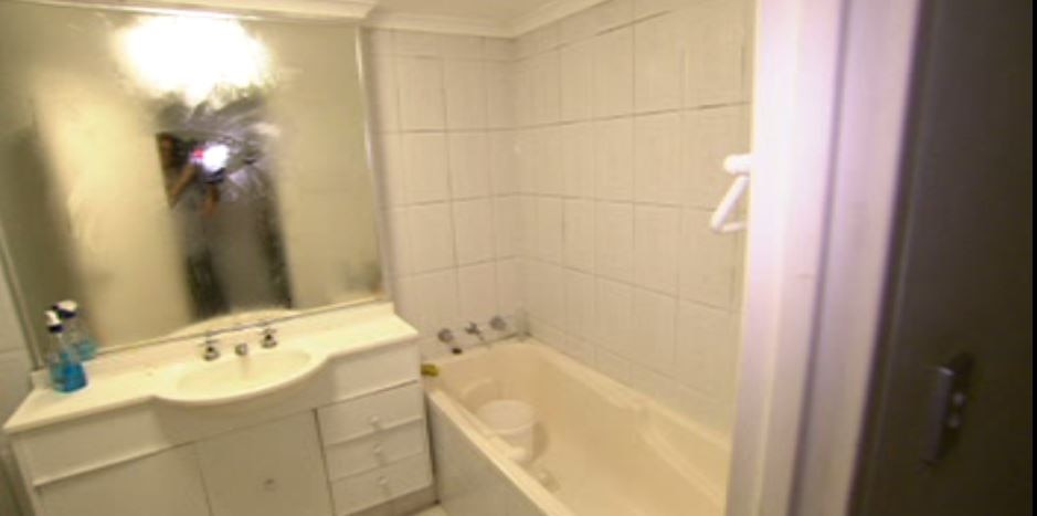 A bathroom currently shared by seven people in Sydney.
