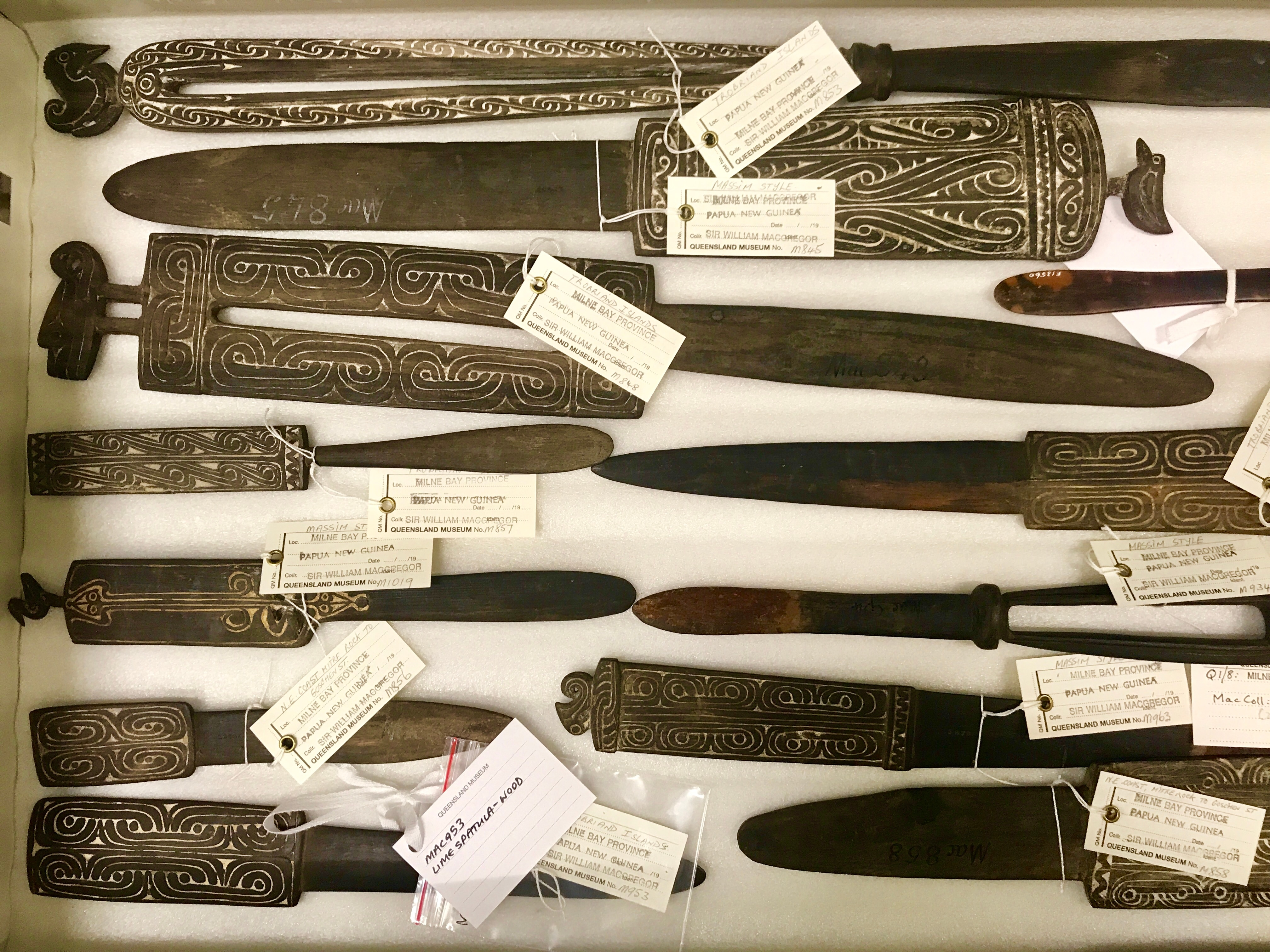 Lime spatulas from the MacGregor collection at Queensland Museum.