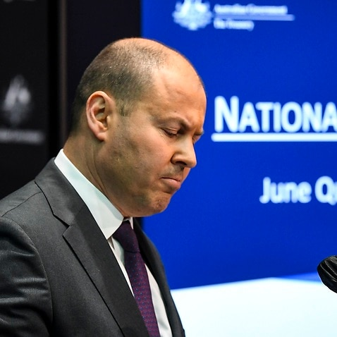 Australian Treasurer Josh Frydenberg speaks to the media during a press conference at Parliament House in Canberra, Wednesday, September 2, 2020.