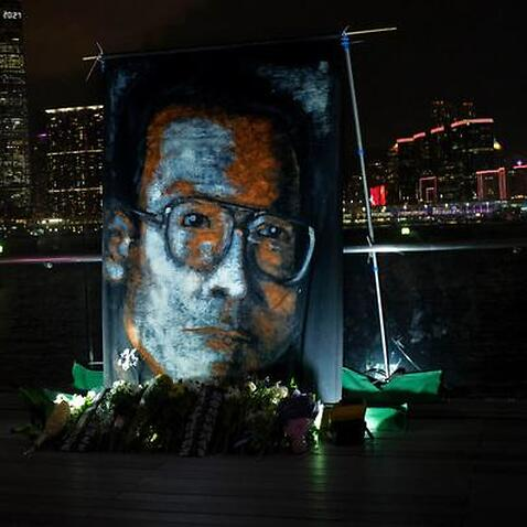 A tribute to late Chinese Nobel Peace laureate Liu Xiaobo at Victoria Harbour in Hong Kong
