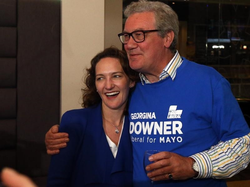 Liberal candidate Georgina Downer with her father Alexander after she conceded defeat in Mayo.