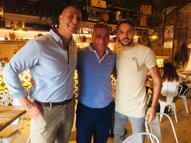 Milos Ninkovic [right] with his former coach Misha Radovic [centre] and Restauranteur Petar Tasic