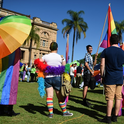 Members and supporters of the LGBTI community march in Brisbane