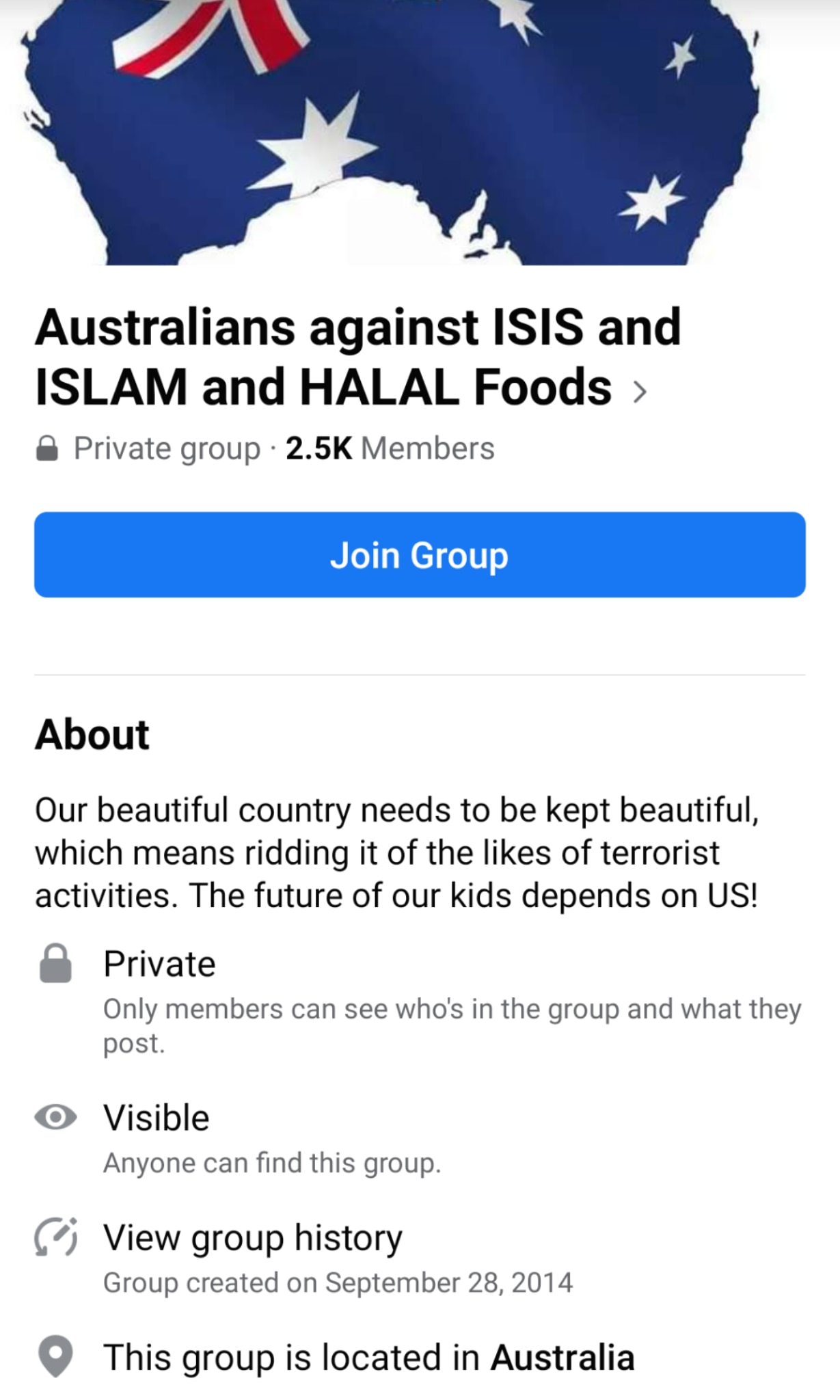 An example of an anti-Islam Facebook group's questions before submission to the group.