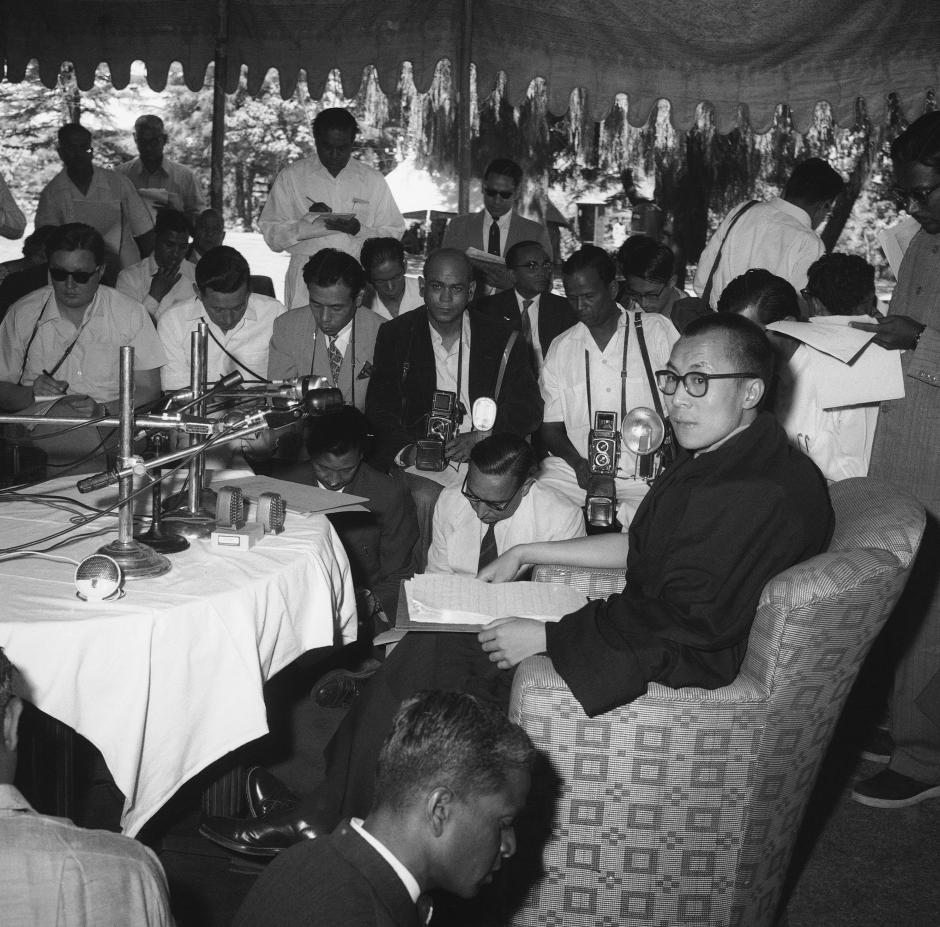 The Dalai Lama's first press conference in India, in Mussoorie in 1959.