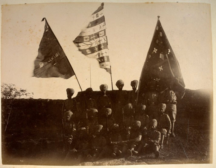 The three Pashtun standards captured by Major Des Voeux's soldiers of the 36th Sikh Regiment