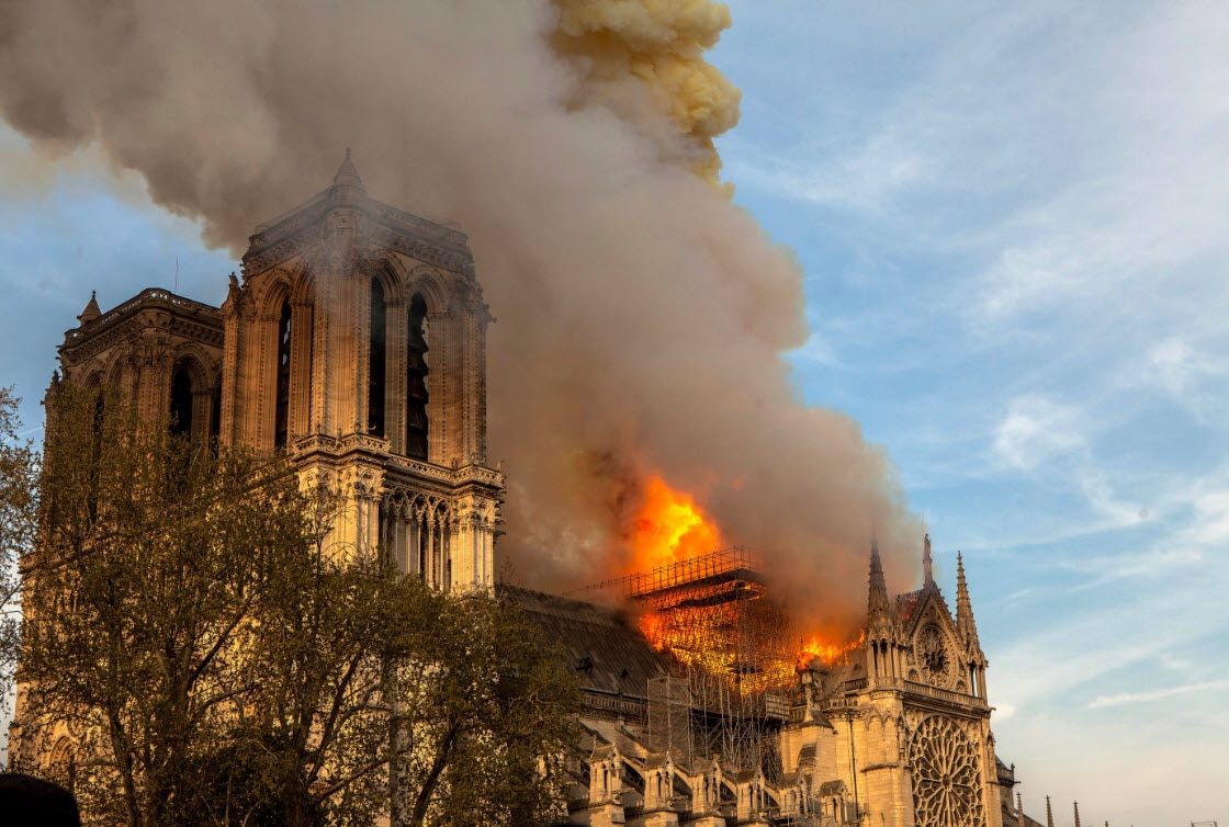 This photo taken on Monday April 15, 2019 shows Notre Dame cathedral burning in Paris (AAP)