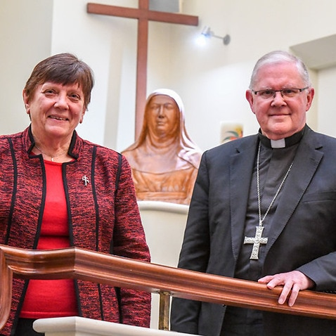 Catholic Religious Australia president Sister Monica Cavanagh (L) and Australian Catholic Bishops Conference president Archbishop Mark Coleridge