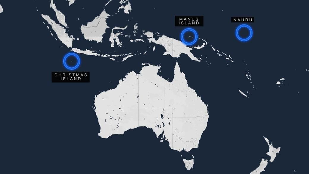 Christmas Island, Nauru and Manus on the map