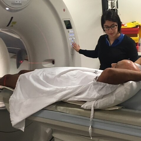 Doug Comerford underging a CT Scan