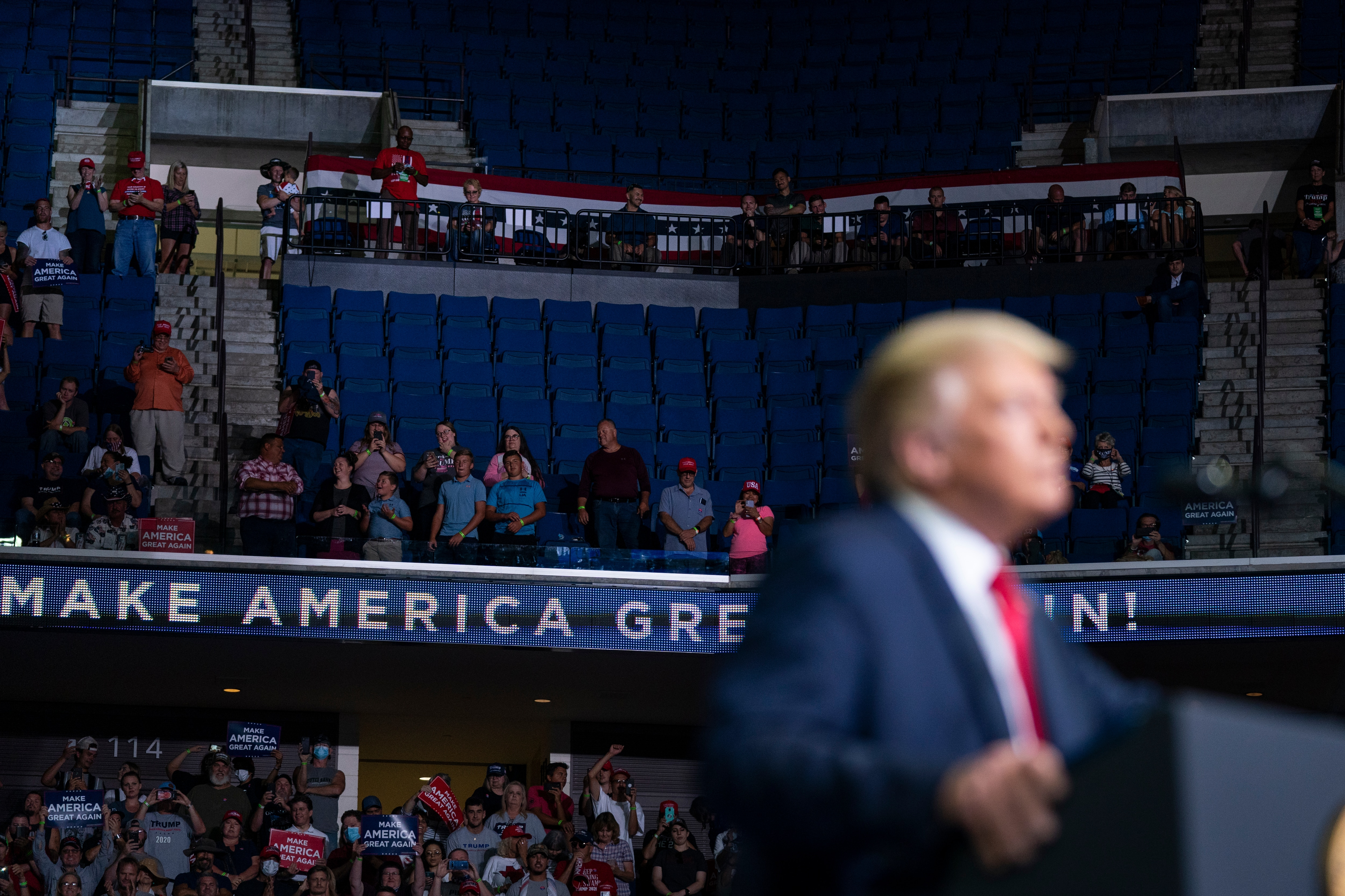 President Donald Trump speaks during a campaign rally at the BOK Center, Saturday, June 20, 2020, in Tulsa, Okla. (AP Photo/Evan Vucci)