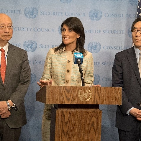 Koro Bessho Japanese ambassador, Nikki Haley US Ambassador and Oh Joon, South Korean Ambassador