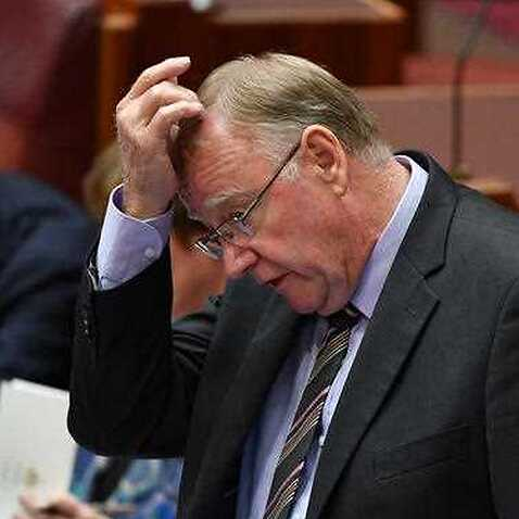 Liberal Senator Ian Macdonald during Question Time in the Senate chamber at Parliament House in Canberra Monday