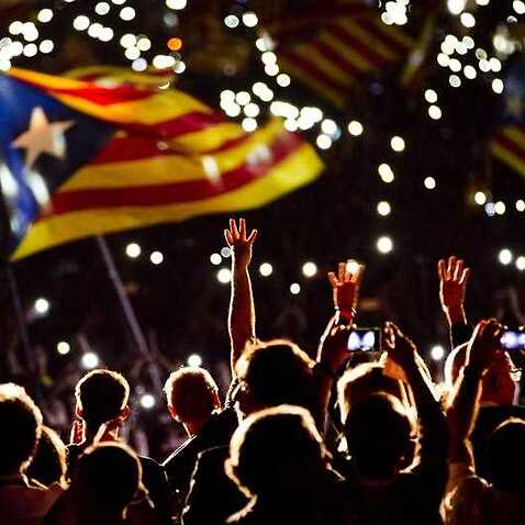 Pro independence supporters wave
