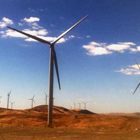 A windfarm is pictured near Burra, South Australia