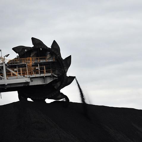 A loader shifts coal