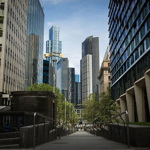 A general view of a quiet Market Street in the city on 6 October, 2021 in Melbourne.