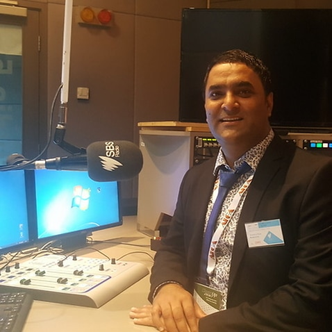 Gurwinder Singh at SBS studios, talking about his innovative and cutting edge solution to global warming