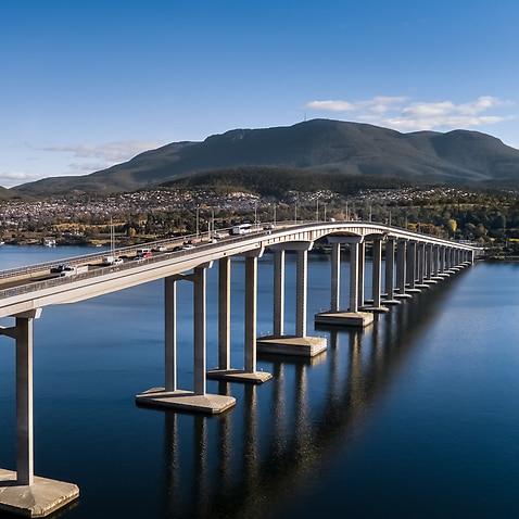 Aerial of Hobart City in Tasmania Australia
