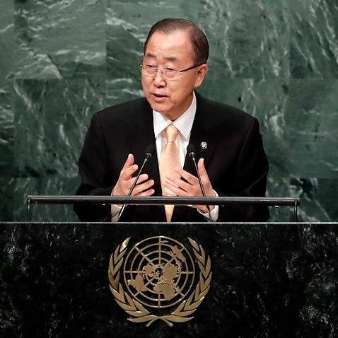 epa05549107 United Nations Secretary General Ban Ki-moon opens the General Debate of the 71st Session of the United Nations General Assembly at UN headquarters in New York, New York, USA, 20 September 2016.  EPA/JASON SZENES