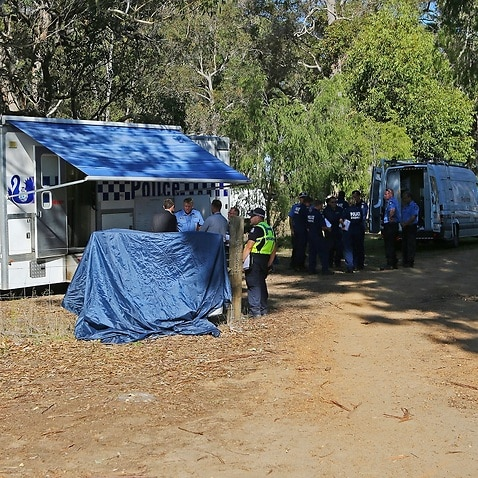 Police forensics investigate the death of seven people in a suspected murder-suicide in Osmington, east of Margaret River, 260km south west of Perth, Friday, May 11, 2018. (AAP Image/ The West Australian POOL, Justin Benson-Cooper) NO ARCHIVING