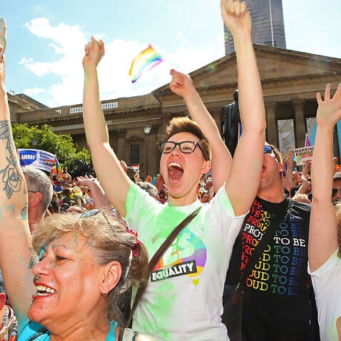 Australians Gather To Hear Result Of Marriage Equality Survey.