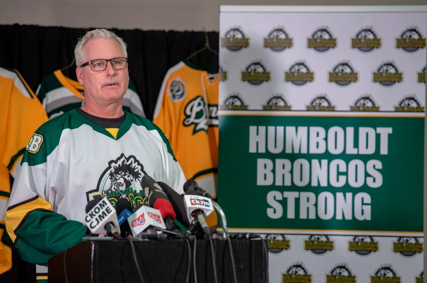 Rob Muench, Mayor of Humboldt, speaks during a press conference at the Elgar Petersen Arena in Humboldt, Saskatchewan, on Saturday, April 7, 2018.