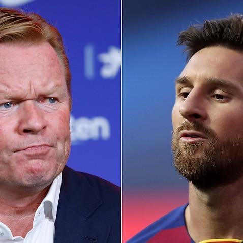Ronald Koeman (L), Lionel Messi