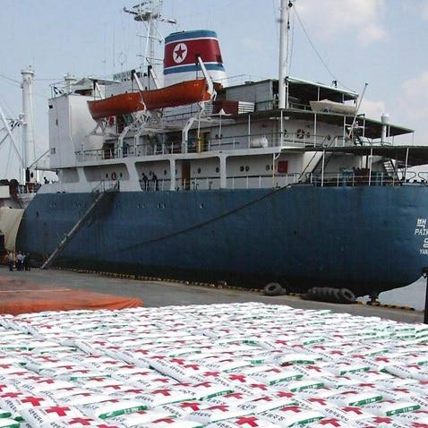 File photo, a North Korea cargo ship Paik Du San cast anchor