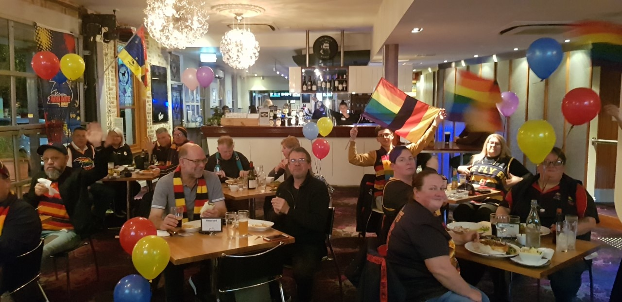 Rainbow Crows members gathered together for the first time in months to watch a match in an Adelaide pub a few weekends ago