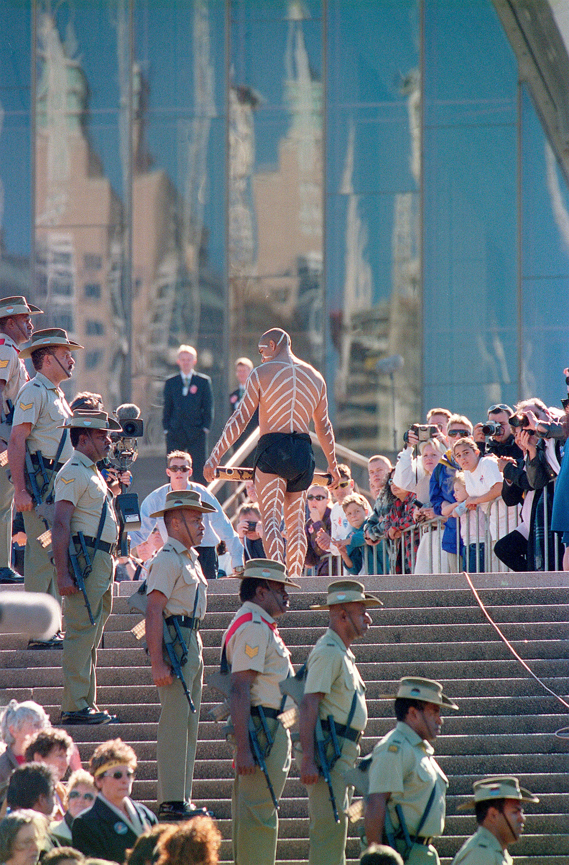 The national reconciliation document is carried into the Sydney Opera House during Corroboree 2000.