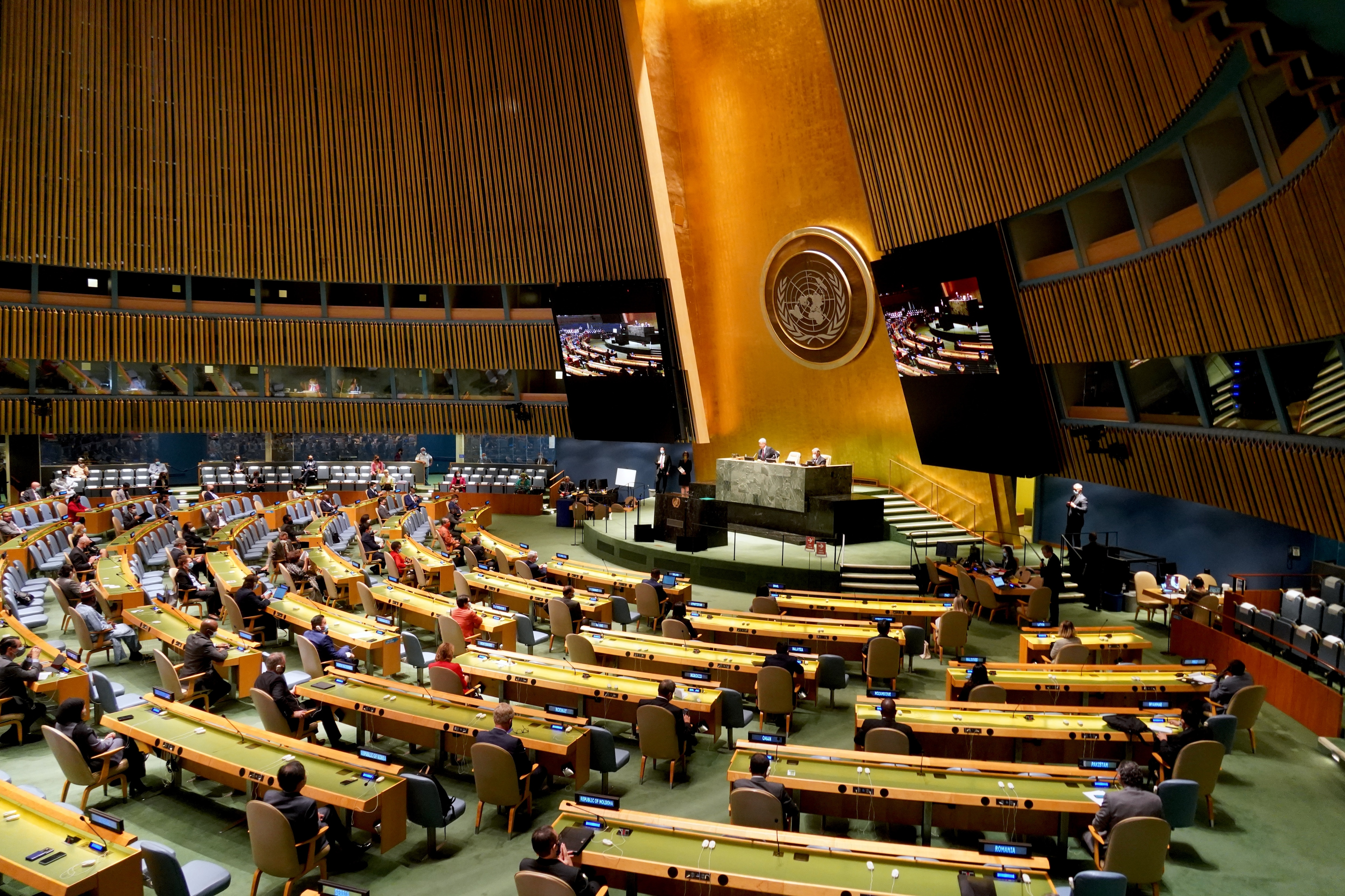 The 75th session of the UN General Assembly with delegates sitting distanced apart in the famous UNGA hall at New York Headquarters.