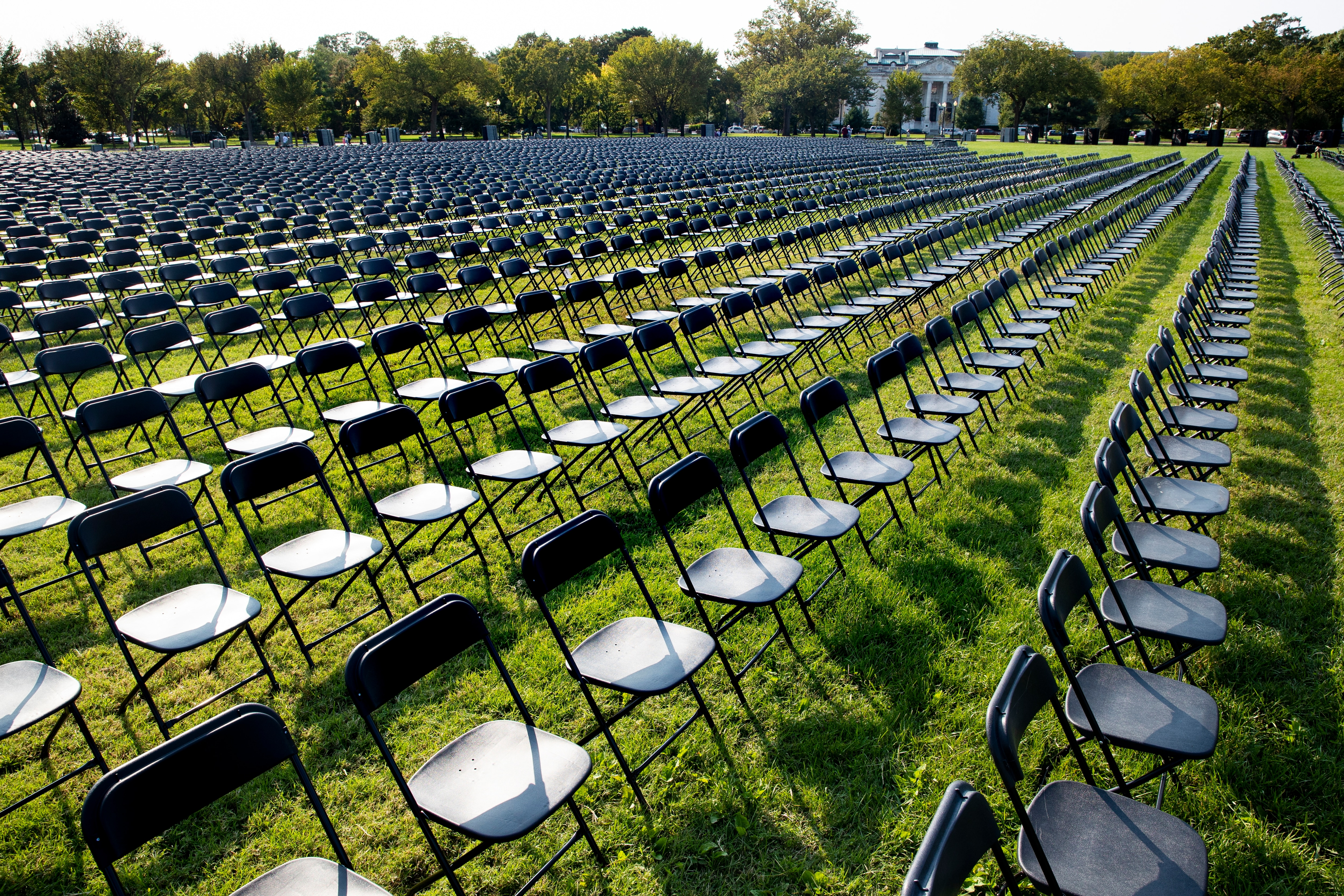 Twenty thousand empty chairs were placed near the White House to memorialise the over 200,000 people in the US who died with COVID-19.