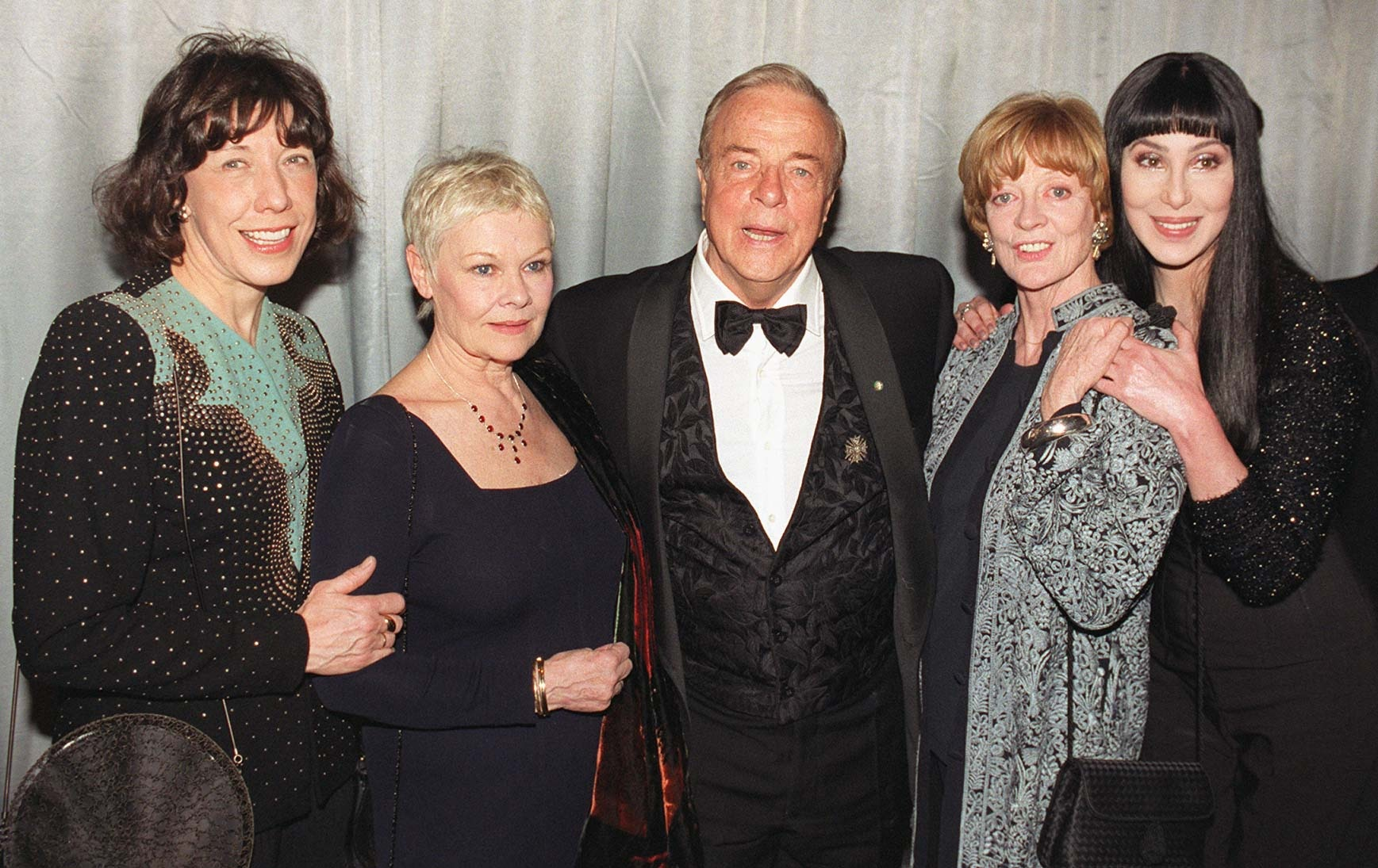Zeffirelli with (left to right) Lily Tomlin, Dame Judi Dench, Dame Maggie Smith and Cher, the stars of his film, 'Tea With Mussolini'.