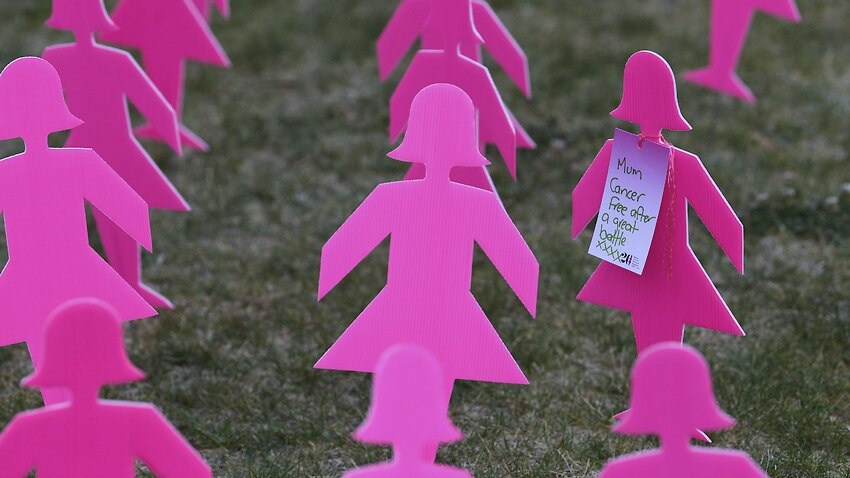 Pink silhouettes are part of a breast cancer memorial outside Parliament House in Canberra on 17 October 2018.