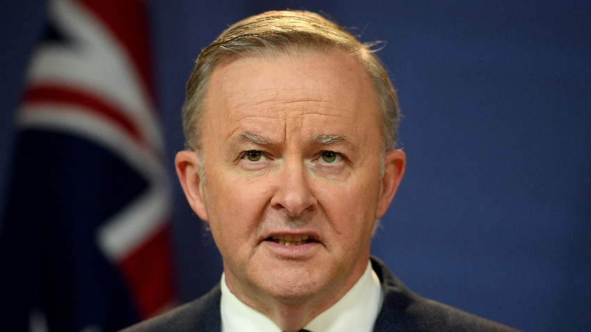 Federal Opposition Leader Anthony Albanese addresses media during a press conference.
