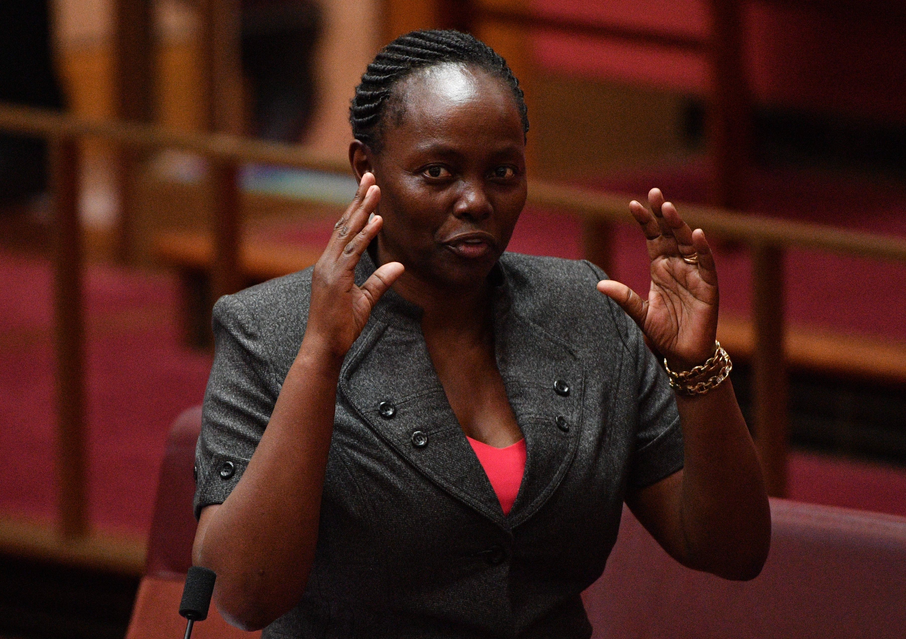 Liberal Senator Lucy Gichuhi during the debate on the Espionage and Foreign Interference Bill in the Senate chamber.