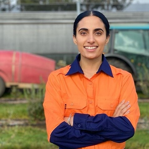 Livpreet Kaur at her farm in Kinglake in Victoria.