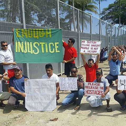 A protest at the Manus Island detention centre in October 2017.
