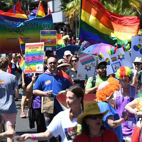 Members and supporters of Melbourne's gay and lesbian community take part in the annual Midsumma Pride march through St. Kilda in Melbourne, Sunday, Jan. 29, 2017.  (AAP Image/Dean Lewins) NO ARCHIVING