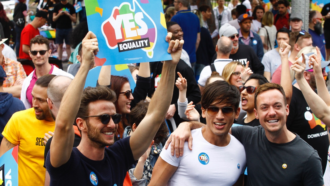 Supporters of marriage equality are seen at the Post Your Yes Vote Street Party at Taylor Square in Darlinghurst, Sydney on October 8.