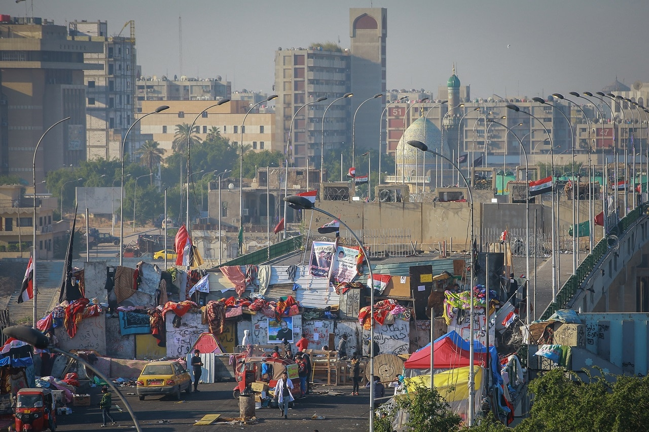 Barriers on the Sinak Bridge amid ongoing protests.