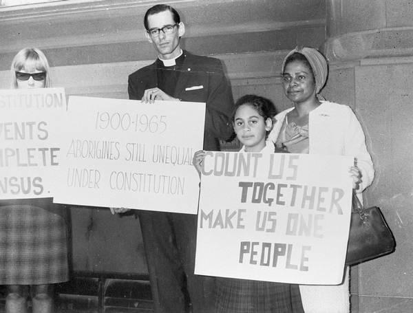 Bishop Garnsey, Faith and Lilon Bandler campaigning for a YES vote, 1967